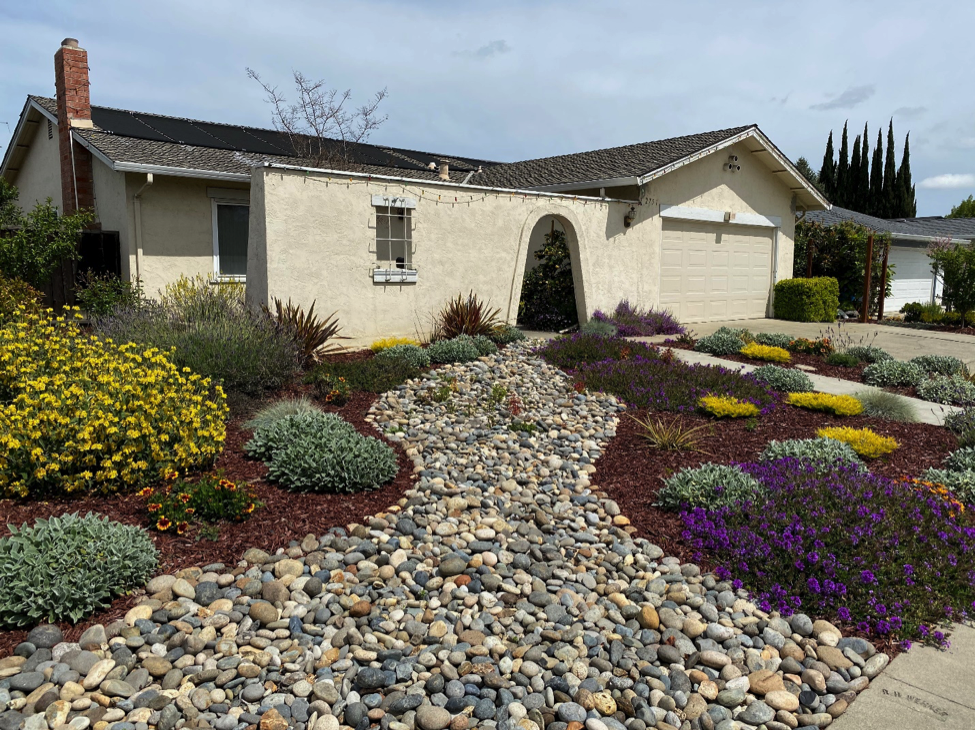House with rock path