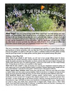 A Good Bug Tub for Your Garden